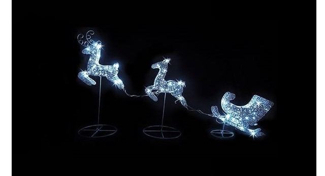 Energy money saving christmas lights led reindeer and sleigh christmas lights mozeypictures Images
